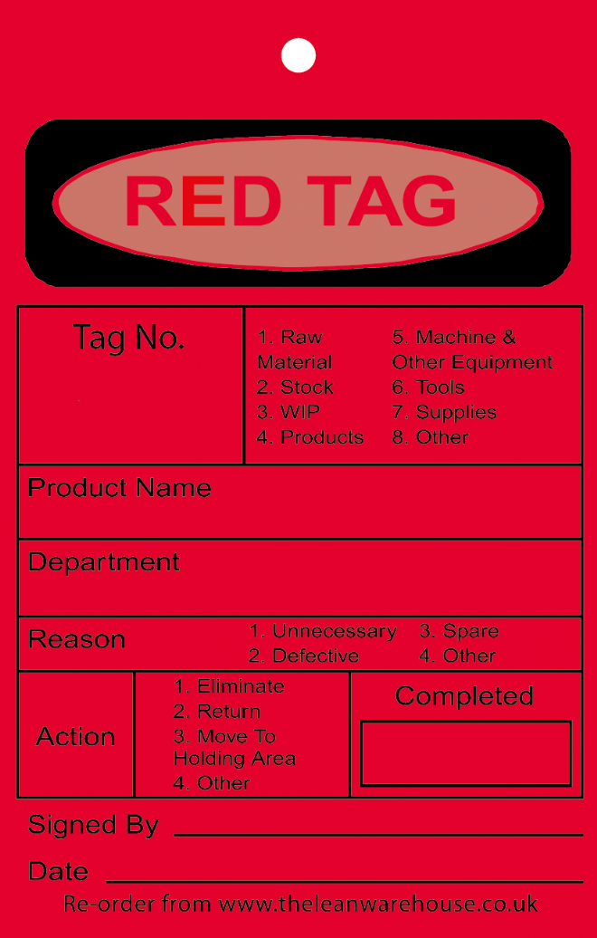 Red 5S Tags